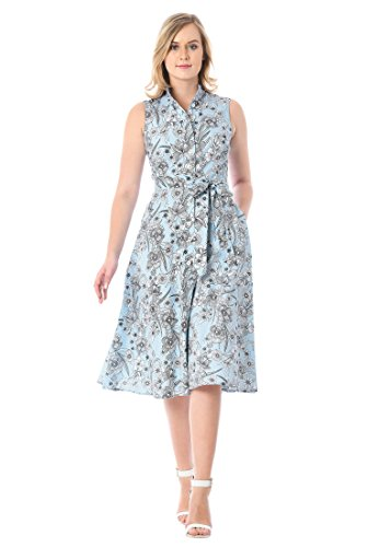 eShakti Women's Pinstripe Floral Print Cotton Shirtdress 3X-26W Short Light Blue/Multi (Pinstripe Bra Stretch)