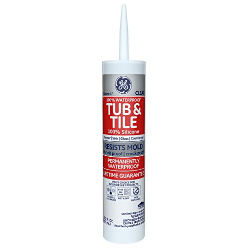 GE Silicone I Tub & Tile Silicone Caulk, 10.1 Oz. Tube, Clear, GE612