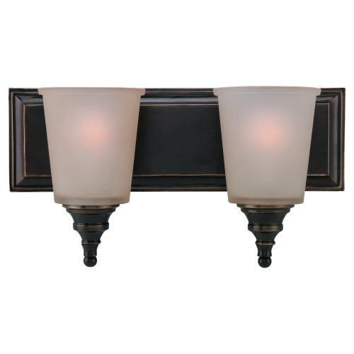 Sea Gull Lighting 44330-825 Warwick Wall and Bath Light, Smoky Parchment Glass and Vintage Bronze, 2-Light