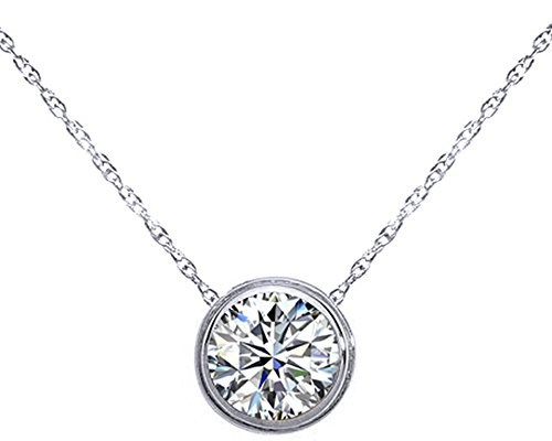 Wishrocks Round Cut Solitaire Pendant Necklace in 14K Gold Over Sterling Silver