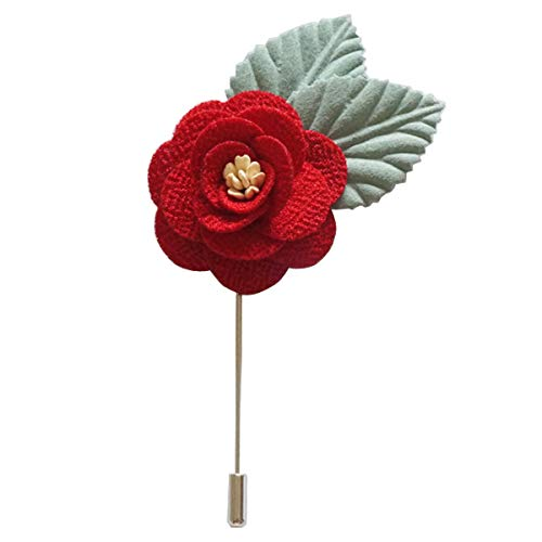 Sunny Home Men's Lapel Flower Boutonniere Pin for Suit(18 Colors) (3.74in, Red (Boutonniere Core Leaf))