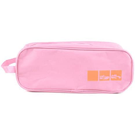 Leoie Waterproof Transparent Shoes Bag with Handle for Travel Storage Pink