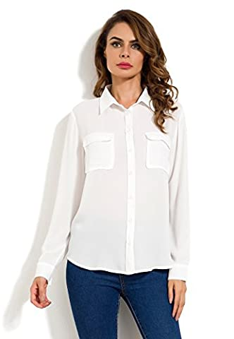 MSHING Women's Chiffon Casual Button Down Blouse with Pockets Loose Long Sleeve Tops Shirt - Best White Blouse