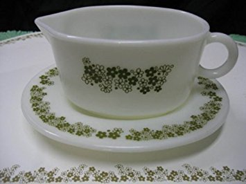 Blossom Boat Gravy (Vintage 1970's PYREX Crazy Daisy or Spring Blossom Gravy Bowl Dish w/ Plate)