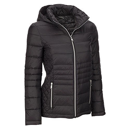 Black Rivet Womens Plus Size Quilted Body Puffy Jacket W/Hood 3X (Black Rivet Leather Jacket)