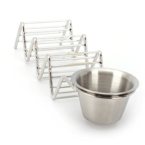 2 Lb. Depot Taco Shell Holder, Stainless Steel Taco Rack Hard Soft Taco's, 2 Pack (Holds 3 Tacos with Cup) by 2 Lb. Depot (Image #5)