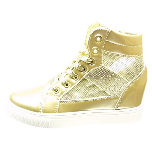 Talon 6 Strass Verni 5 Diamant Angkorly Brillant Cm Femme Mode Basket Compensée Compensé Or Chaussure zz1wpqF
