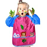 Xiton 2 PCs Waterproof Artist Painting Apron Art Smocks for 3-8 Age(Rosy)