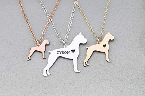 Boxer Dog Necklace - IBD - German - Personalize Name Date - Pendant Size Options - 935 Sterling Silver 14K Rose Gold Filled Charm - Fast 1 Day Production