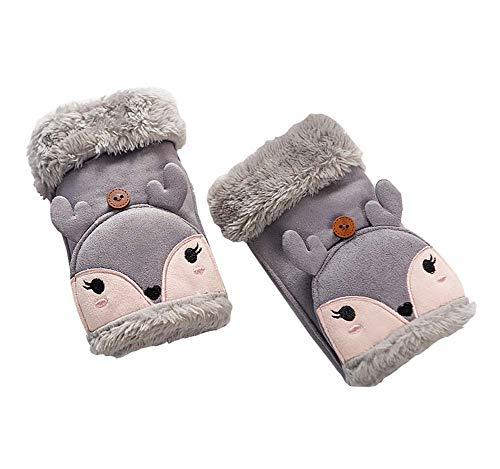 かもめ配当再生1組の子供の冬用ミトン手袋厚手の暖かい手袋(美しい鹿)、灰色の