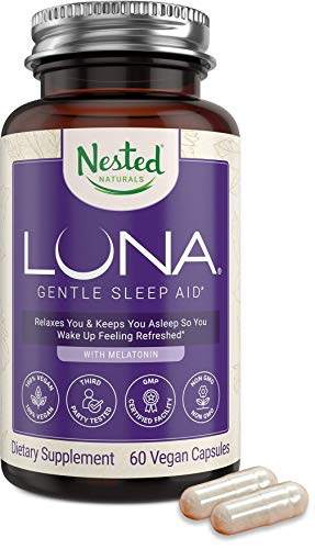 Nested Naturals Luna Natural Sleep Aid - Better Night Time Sleep Support for Adults - Non-Habit Forming Sleeping Pills - Herbal Supplement Relief from Stress & Anxiety