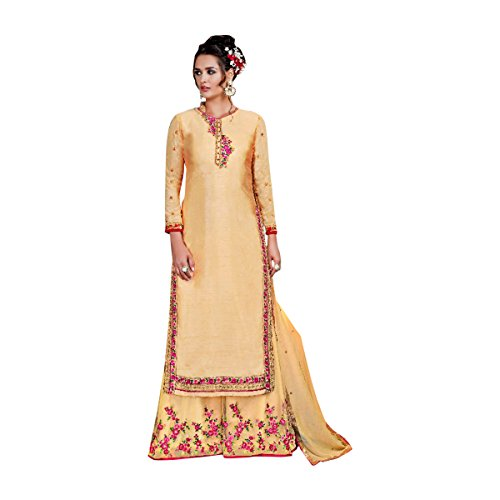 in abito cucito Ultimo in Indowestern Kameez 632 georgette Giallo stile Plazo Net Casual Salwar dritto q4Ewx5tY