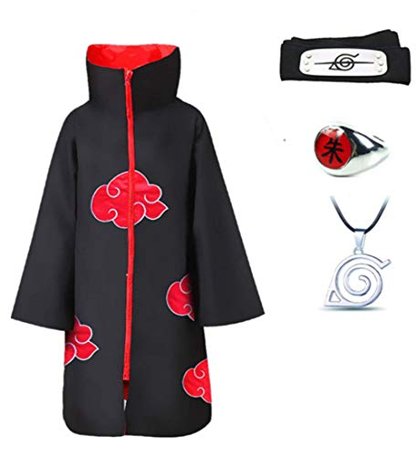 (4Pcs Halloween Cosplay Akatsuki Cloak Costume with Headband Necklace and Ring Itachi Cosplay for Unisex Naruto)