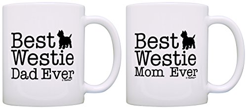 (West Highland Terrier Gifts Best Westie Mom and Dad Ever West Highland Terrier 2 Pack Gift Coffee Mugs Tea Cups White)