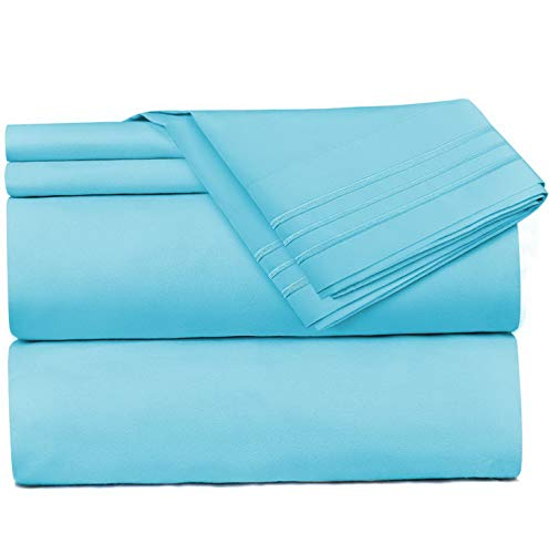 Mikash Bed Sheets, Queen, Beach Blue Bedding Set Sheets on Amazon, 4-Piece Bed Set, Deep Pockets Fitted Sheet, 100% Luxury Soft Microfiber - Hypoallergenic | Model SHTST - 123 (Dvala Sheet Set Queen)