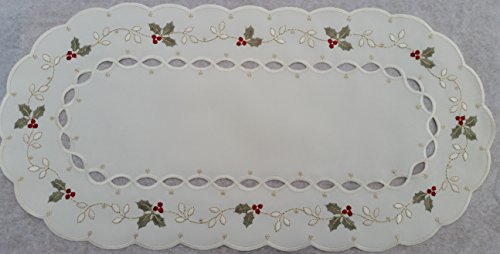 christmas-doily-polyester-linen-oval-with-cutwork-holly-and-berries-non-tarnish-gold-thread