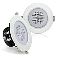 Pyle Surround Wall / Ceiling Home Speaker, Set of 2, White (PDIC3FR)