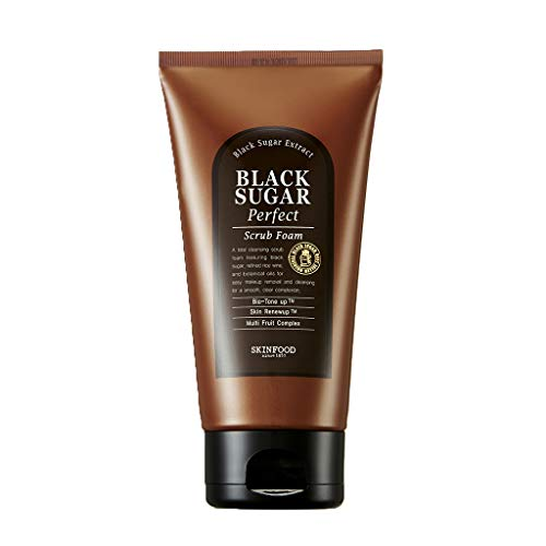SKIN FOOD Black Sugar Perfect Scrub Foam 6.35 oz (180g) - Detoxifying Pore Scrub & Exfoliator Soft & Rich Bubble Facial Foam Cleanser, Removes Dead Skin Cells, Skin Smooth and Moisturizing