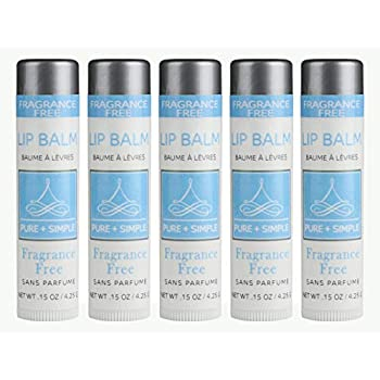 PURE + SIMPLE Fragrance Free Lip Balm Collection, Vegan, Unscented, Set of 5 Tubes, Avocado Butter, Jojoba Oil, Vitamin E Complex Healing Treatment