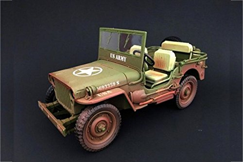 American Army Vehicles - American Diorama Army Jeep Vehicle US Army Dirty Version, Green 77404A - 1/18 Scale Diecast Model Toy Car