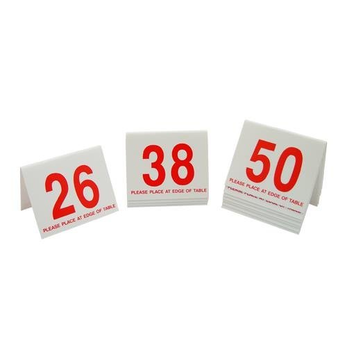 Cal Mil Number Tents - 3.5W x 2D x 3H Break Resistant Number Tents 26 to 50 White with Red