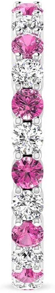 IJ-SI Color Clarity - Pendientes de aro con piedras preciosas de diamante, oro de 14 quilates para mujer, aretes de aro de turmalina rosa con diamantes certificados IGI, con clip.