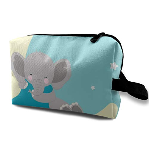 (Yunshm Cute Elephant Baby Sleeping On The Moon Customized Cosmetic Storage Bag Waterproof Woman for Travel Carry Bag)