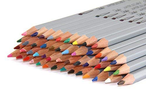 - Strokes Art 48 Piece Artist Grade High Quality Watercolor Water Soluble Colored Pencil Set, Soft German Core