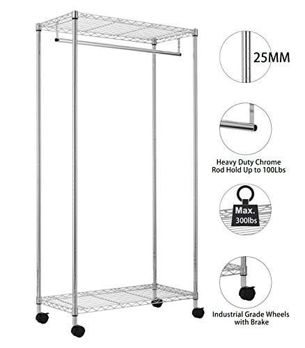 Finnhomy Commercial Grade Shelving Garment Rack Rolling Clothes Rack for Closet Organizer Movable Clothes Closet with 2 Adjustable Shelves, 25mm Heavy Duty Thicken Steel Pole, Chrome