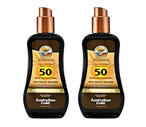 Australian Gold Sunscreen Spray Gel with Instant Bronzer, 8 Ounce (2 Pack)