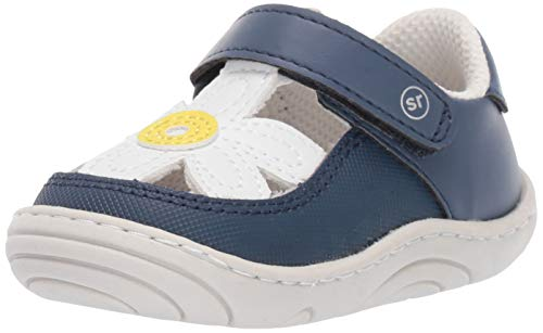 Stride Rite Daisy Girl's Flower T-Strap Sneaker, navy, 4 M US Toddler -