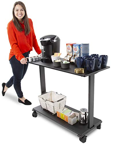 (Stand Steady Coffee Cart on Wheels | Two Shelf Mobile Printer Cart or Rolling Desk | Turn Any Desk into an L-Shaped Desk in Seconds with This Add-On Desk Return! (42 inch/Black))