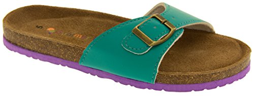 Coolers Womens YF07061 Faux Leather Buckle Strap Mule Sandals Green va6Ws
