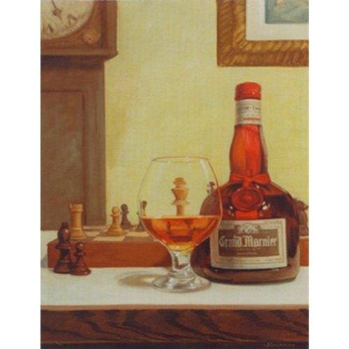 Buyartforless Chess and a Cordial by David Marrocco 18x24 Art Print Poster Grand Marnier Liquor and Glass Chess Board Game - Grand Marnier Orange Liqueur