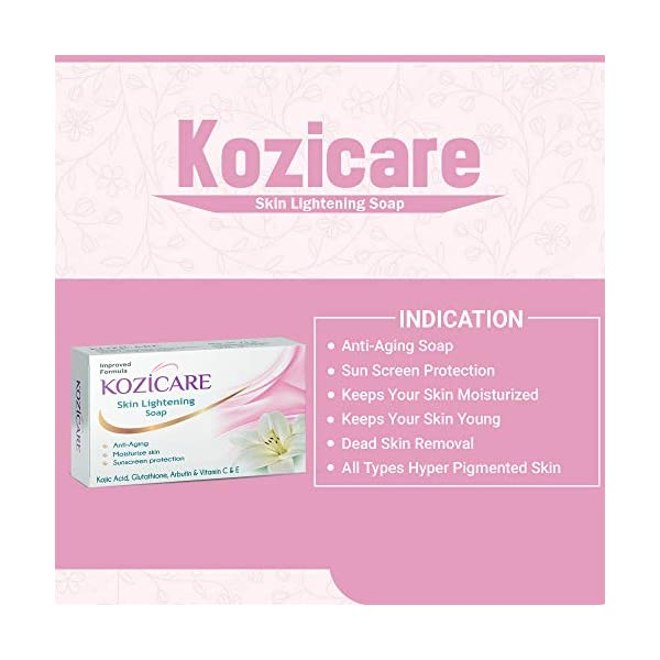Kozicare Skin Lightening Soap with Kojic Acid, Glutathione & Arbutin - 75g (Pack of 3) 2021 June Kojic acid, vitamin c and e is the best kept secret for more radiant, even skin that craves extra moisture specially formulated with pure Lightening kojic acid, this beautifying cleanser nourishes skin Vitamin e and kojic acid formula: kozicare soap uses a unique combination of vitamin e and kojic acid that is very powerful and effective so you can naturally and safely your skin tone For bright-healthy skin: have a brighter skin tone and an even complexion with the help of this kozicare skin Lightening soap will eliminate any discoloration and give your skin a healthy glow