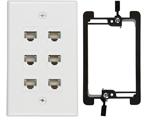 Buyer's Point 6 Port Cat6 Wall Plate, Female-Female White with Single Gang Low Voltage Mounting Bracket Device (6 Port) ()