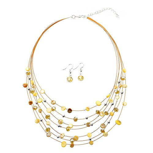 TOOGOO(R) Gorgeous Beaded Multi Strand Necklace and Drop/Dangle Earring Set-Yellow