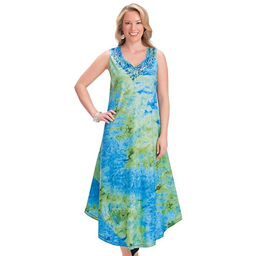 (Collections Etc Women's Blue and Turquoise Watercolor Embroidered Dress with Accented Embroidery V Neckline, Blue Multi,)
