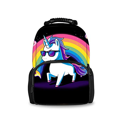 OKAYDECOR Rainbow Unicorn Pizza Big Capacity Backpacks College Students School Bookbag