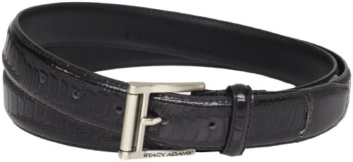 Stacy Adams Men's 32mm Ostrich Leg Embossed Genuine Leather Belt, Black, 36 - Exotic Belts