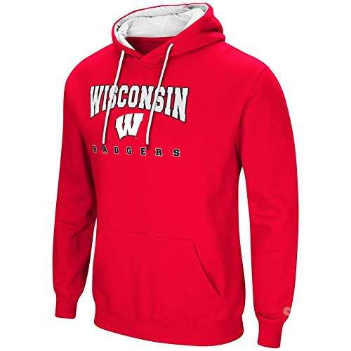 Colosseum University of Wisconsin Badgers Men's Hoodie Pullover Hooded Sweatshirt - Pullover Cardinal White