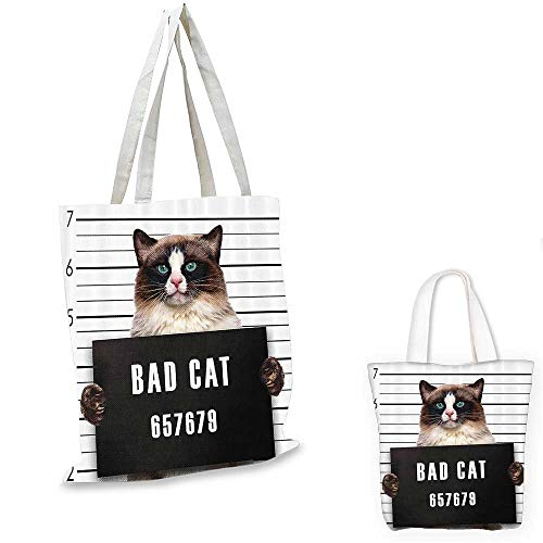 (Cat Lover Decor shopping bag storage pouch Bad Gang Cat in Jail Kitty Under Arrest Criminal Prisoner Hangover Artsy Work small tote shopping bag Brown Black White. 12