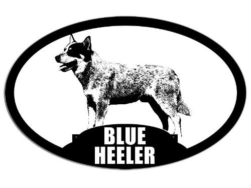 Oval Blue Heeler Sticker (dog breed decal acd cattle)