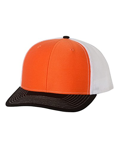 Richardson Twill Mesh Back Trucker Snapback Hat -- Orange/White/Black