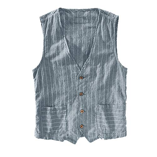 iYBUIA Men's Casual Fashion Linen Wild Striped Printing Tank Top Jacket Top Blouse,with Pocket ()