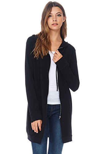 Alexander + David A+D Womens Casual Zipper Long Hoodie Tunic Sweatshirt (Black, Small) (Jumper Black Long)