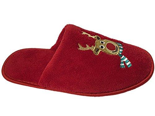 L S Novedad Animal Dasher Swoop Rojo Tamaño Zapatillas M Slip Girls Ladies On Owl Mules Reindeer 6zUgcxw7