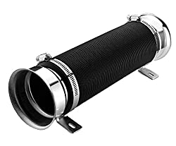 NEW Universal Car Washable And Durable Red 3 Inch Multi Flexible Adjustable Motor Turbo Cold Air Intake Inlet Pipe Hose Tube Kit (Silver)