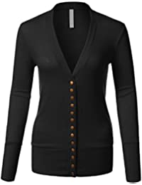 Women's Long Sleeve Knit Buttoned Closure Cardigan with Deep V-Neckline