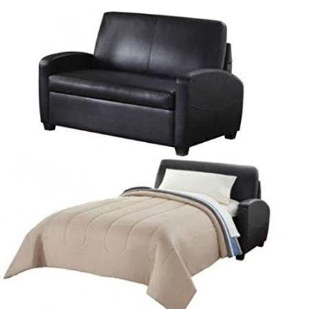 Alex's New Sofa Sleeper Black Convertible Couch loveseat Chair Leather Bed Mattress (54